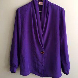 Vintage Purple Draped Neck Blouse